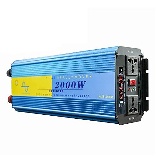 J-Love Inversor de Onda sinusoidal Pura, convertidor de energía de 2000 W, CC 12 V/24 V a CA 110 V 220 V, Fuente de alimentación de Respaldo para RV, automóvil, hogar, Uso del Sistema Solar