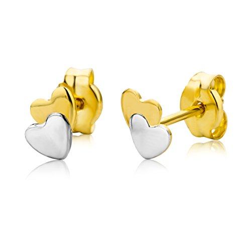 Miore Ohrringe Kinder Mädchen Bicolor Gelbgold / Weißgold 9 Karat / 375 Gold Ohrstecker mit Herz