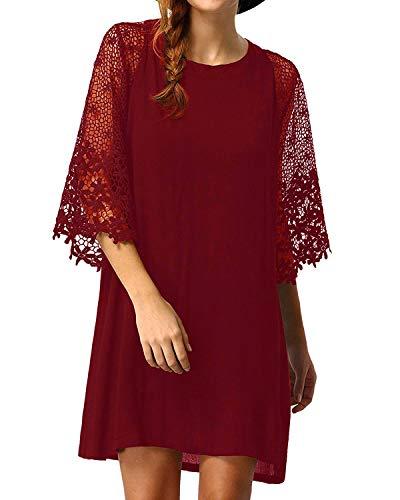 Zanzea Vestido de túnica de Mujer de Encaje de Ganchillo Patchwork Manga Acampanada Suelta Casual Summer Long Tops Camisa Mini Vestidos Rojo M