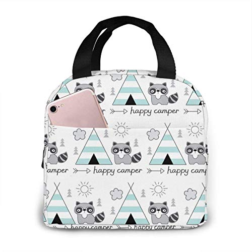 Happy With Tent Raccoon Picnic Pouch Tote Bento Large Meal Prep Bag Big Leakproof Soft Bags