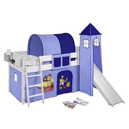 Lilokids Spielbett IDA 4105 Pirat Blau-Teilbares Systemhochbett weiß-mit Vorhang Kinderbett, Holz, 208 x 98 x 113 cm