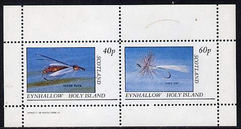 Eynhallow 1982 Fishing Flies (Sedge pupa & Grey Fox) perf set of 2 values (40p & 60p) u/m FISHING JandRStamps