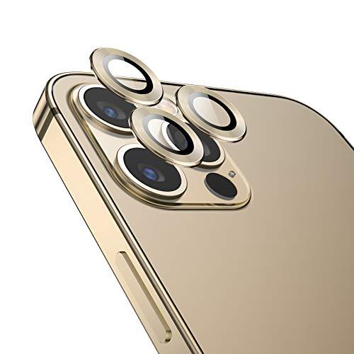 TAMOWA Kamera Panzerglas Schutzfolie Kompatibel mit iPhone 12 Pro Max, Aluminiumlegierung 360 Grad Schutz Kamera Linse Displayschutz, 9H Härte, Anti-Kratzen, Gold