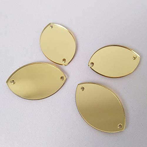 Perles de miroir à coudre en forme de goutte d'eau, strass miroir pour robe de soirée, accessoire de décoration (doré)
