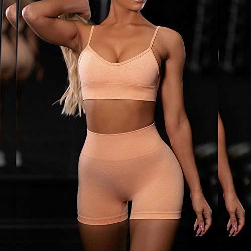 SHYSBV 2 Unids/Set Conjuntos De Yoga Sin Costuras para Mujer, Trajes Deportivos...