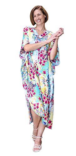 Winlar Silky Pastel Floral Poppy Caftan