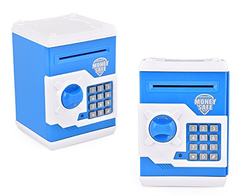 DSstyles Safe ha voluto Money Box Banca dei soldi per i bambini Mini cassaforte Piggy Bank - Blu