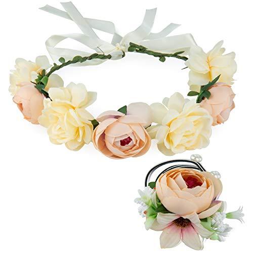Preisvergleich Produktbild ZWOOS Blumen Stirnband und Blumenarmband,  Blume Krone für Geburtstag,  Hochzeit,  Tanzparty (Weiß)