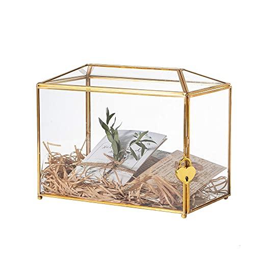 NCYP Large Geometric Glass Card Box Terrarium mit Schlitz und Herzschloss, Fuß, Gold, handgefertigt, Messing, für Hochzeitsempfang, Wishwell, Andenken-Herzstück, Glasbox und nur Schloss