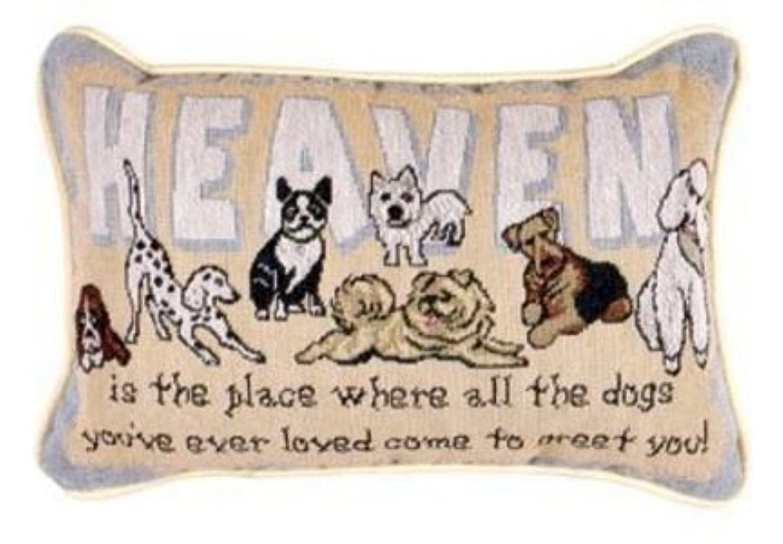 荒らす刃恩恵Simply Home Heaven Is The Place Dogs Decorative Tapestry Toss Pillow USA Made SKU: P80-GREET [並行輸入品]