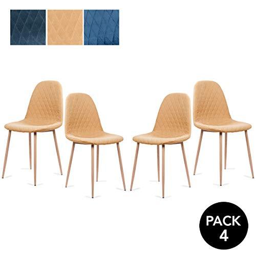Mc Haus YRSA - Pack 4 sillas comedor diseño nórdico color mostaza tapizadas en tela sillas salón cocina con patas de metal efecto madera 50x39x87cm