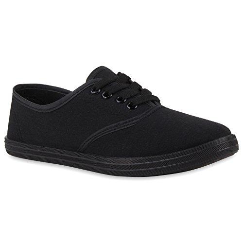 stiefelparadies Unisex Basic Sneaker Damen Sneakers Herren Sneaker Low Freizeit Turn Stoff Schnür Schuhe 114904 Schwarz 36 Flandell