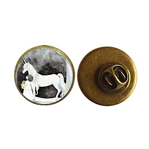 Broche de plata con diseño de unicornio y alfiler, para mujer, PU242