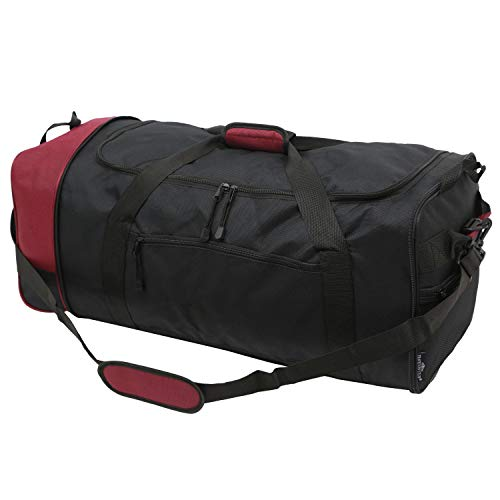 TPRC 32-Inch Collapsible Expandble Travel Rolling Duffel Bag, Black/Red