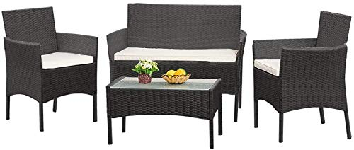 PVC Rattan Cane Suite Glass Table Set The Table 1 x 1 x 2 x armchairs Sofa Outdoor Garden Furniture with 2 Seats,Black