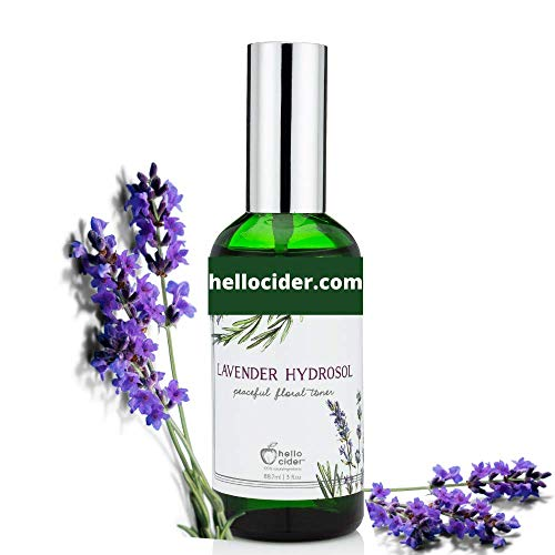 LAVENDER HYDROSOL FACE TONER - All Natural Organic Essential Floral Water Spray to Hydrate, Calm & Sooth Skin. Prevent Acnes, Restore pH. Great as Yoga, Sleep & Pillow Linen Mist.USA Made, Hello Cider