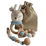 Set de regalo para bebé, sonajero de ganchillo, anillo mordedor y cadena de...