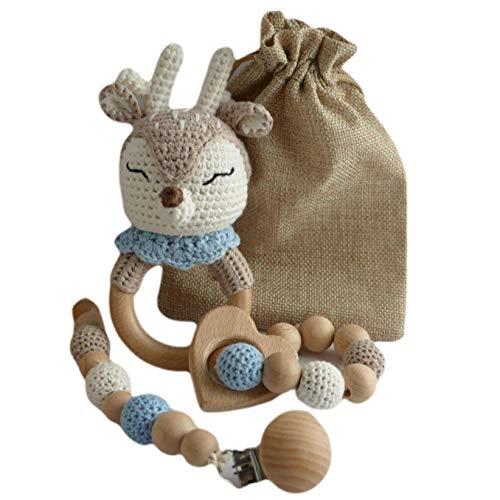 Set de regalo para bebé, sonajero de ganchillo, anillo mordedor y cadena de madera para chupete.
