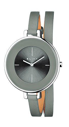 Elixa Damen Armbanduhr FINESSE Analog Quarz Lederarmband graues Zifferblatt E063-L195