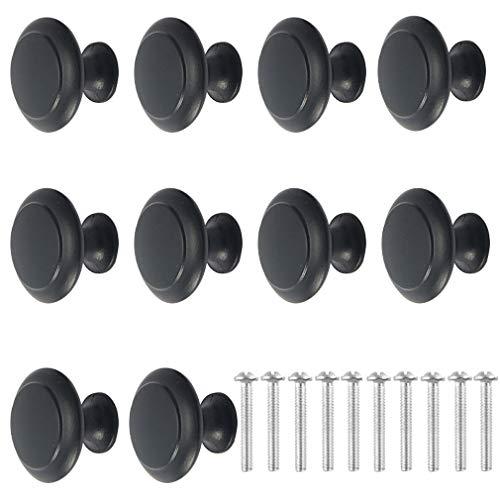WOLFBIRD 10PCS Nero Pomelli per Porta, manopole per mobili da Ø30 mm, maniglia per mobili con viti, manopole per cassetti per porta, guardaroba, cassetto e credenza, parte superiore rotonda