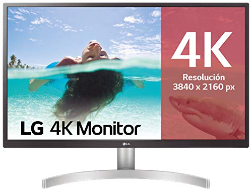LG 27UL500-W - Monitor 4K UHD de 68, 6 cm (27') con Panel IPS (3840 x 2160 píxeles,  16:9,  300 cd/m²,  sRGB 98%,  1000:1,  5 ms,  60 Hz) Color Blanco