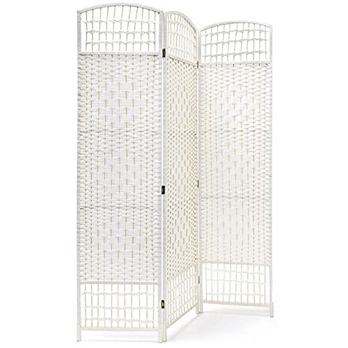 HOGAR Y MAS Biombo Blanco Country Bambú Natural 170 cm, Biombo Separador de Ambientes/Vestidor.3 Paneles 170x120cm
