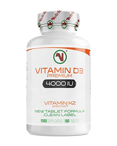 Nutriodol Vitamin D3 4000iu 180 High Strength Tablets | Enhanced with Free Vitamin K2 2µg MK7 | Family Sized 100 Days Supply | Maintain Health & Beat Winter Blues | Natural Vitamin D3 Supplement
