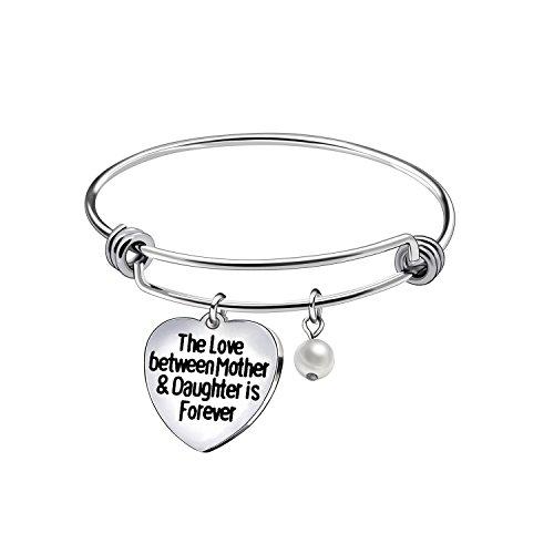 Pulsera con colgante de corazón para madre e hija, regalo de cumpleaños, regalo de día de la madre
