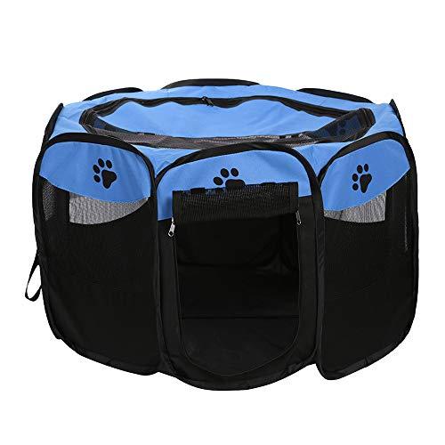 Decdeal Box per Animali da Compagnia Portatile, Recinti Gioco per Cani Impermeabile Pieghevole Tessuto Oxford, Tenda da Casa o Giochi per Cani e Gatti, Facile da Montare (Blu)