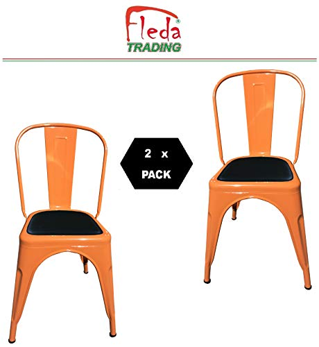 Fleda TRADING Industrial Design Metal Chair - Tòlix Type Pack of 2 CHAIRS with Cushion (Orange)