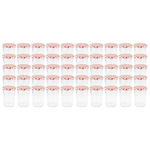 WELLGRO® Einmachgläser mit Schraubdeckel - 435 ml, 8,5 x 12 cm (ØxH), Glas/Metall, rot karierte Deckel To 82, Gläser Made in Germany, verschiedene Mengen wählbar, Stückzahl:50 Stück