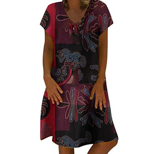 Pottoa Damesjurk, vintage print, elegante damesjurk, sexy jurk, voor meisjes, feestelijk, grote maten