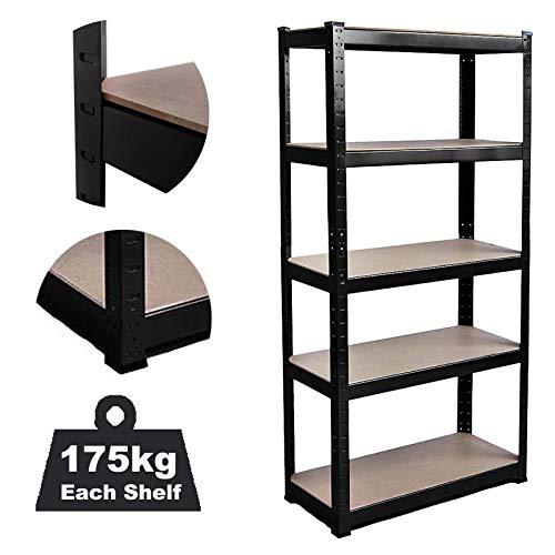 DICN - Estantería de 5 niveles de metal, 150 x 70 x 30 cm (alto x ancho x profundidad), nivel ajustable sin tornillos para casa, oficina, garaje, 175 kg de capacidad por estante (negro)