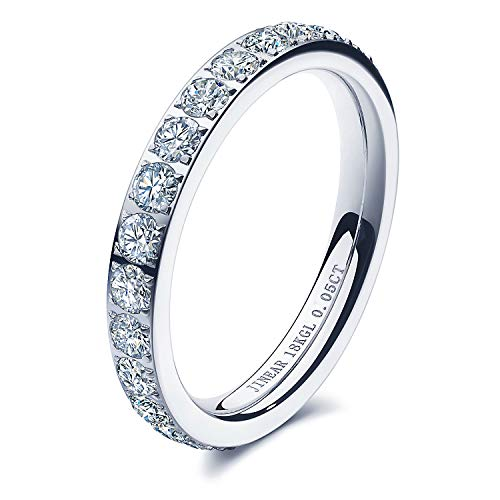 JINEAR 3mm Wedding Bands for Women Eternity Ring 18K Gold Plated Cubic Zirconia Engagement Rings Stackable Anniversary Promise Statement Ring Size 5 to 10