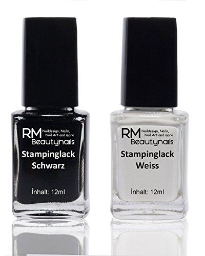 2x 12ml Stampinglack Set Weiss Schwarz Stamping Nagel Lack Nagellack Nail Polish RM Beautynails