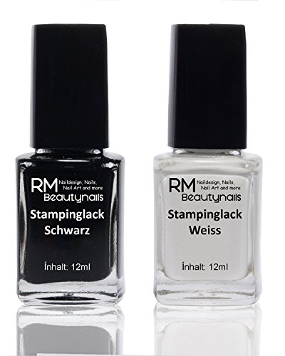 2x 12ml Stampinglack Set Weiss Schwarz Stamping Nagel Lack Nagellack Nail Polish RM Beautynails