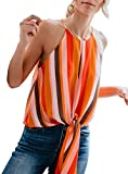 Topstype Women's Summer Sleeveless Crew Neck Tank Tops Camis Front Tie Knot Casual Shirt Keyhole Front Blouse(Small,Orange Stripe)