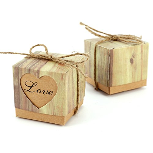 Set de 100 Cajas para dulces bombones Caja kraft de boda regalo Caja de cuadro Rútico con Corazón ↙OVE?con cuerda Gift