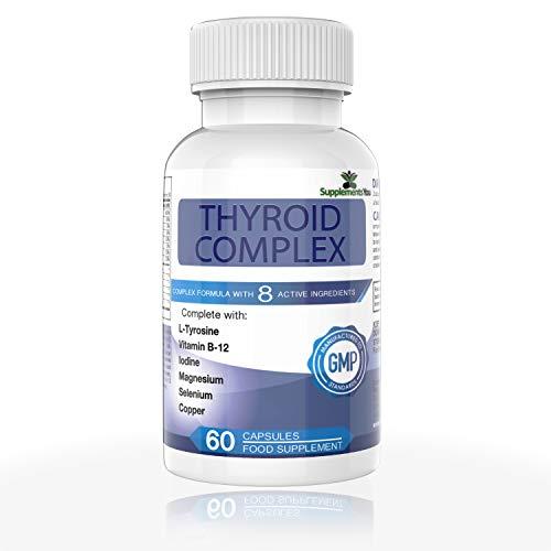 THYROID COMPLEX. 60 Suplementos Premium con 14 INGREDIENTES ACTIVOS, incluye L-Tirosina, yodo, Vitamina B12, Selenio, Alga Marina y Magnesio. 100% GARANTIZADO