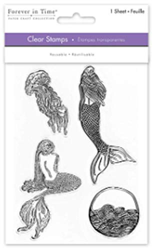 Forever in Time Clear Cling Rubber Stamp Mermaid Set