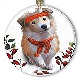 EaYanery Sheltie - Adorno de cerámica con diseño de cachorro y hojas rojas...