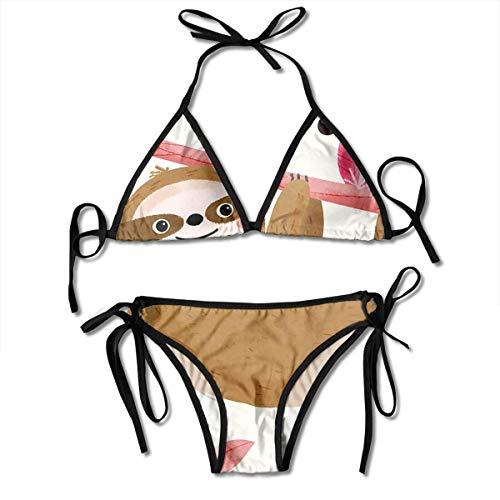 ZQHRS Faultier Spread Frauen Sexy Zweiteiler Badeanzug Krawatte Seite Bikini Badeanzug Badeanzug One Size