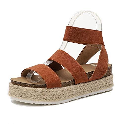 Women Slide On Footbed Wedge Sandals Comfort Ankle Platform Espadrilles Sandals with Elastic Straps (Brown,9 M US)
