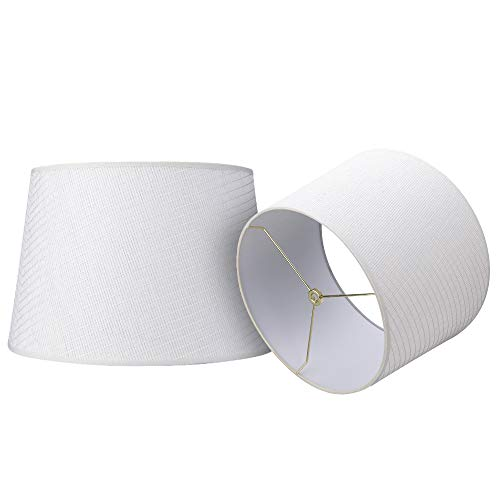 Double Medium Handmade Paper Lamp Shades Set of 2, Alucset Drum Fabric Lampshades for Table Lamp and Floor Light,10x12x8 inch,Natural Linen Hand Crafted,Spider (Paper White, 2 pcs Pack)