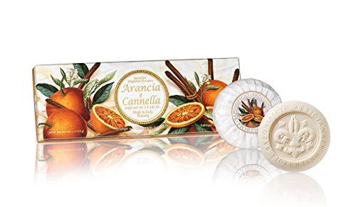 Saponificio Artigianale Fiorentino, Sapone vegetale profumato all'arancia e cannella, Confezione da 3 saponi, 3 x 100 grammi