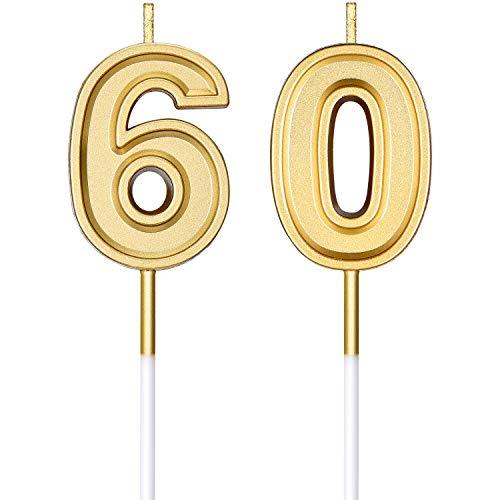 60. Geburtstag Kerzen Kuchen Ziffer Kerzen Happy Birthday Kuchen Kerzen Topper Dekoration für Geburtstag Hochzeit Jahrestag Feier Lieferungen