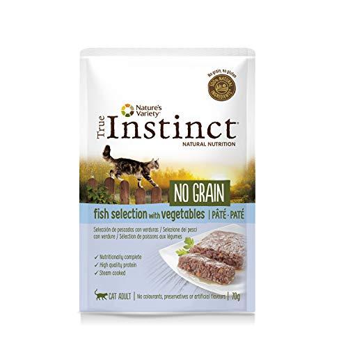 True Instinct No Grain Pack de 8 Pâtés Sélection de Poissons aux Légumes pour Chat 70 g