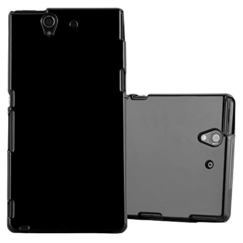 Cadorabo Hülle für Sony Xperia Z - Hülle in Jelly SCHWARZ – Handyhülle aus TPU Silikon im Jelly Design - Silikonhülle Schutzhülle Ultra Slim Soft Back Cover Case Bumper