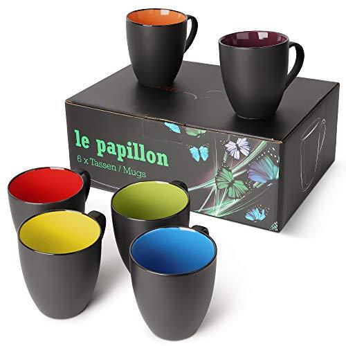 MIAMIO - 6 x 350 ML Tasse à café en grès/Ensemble de Tasses Noires à l'extérieur et colorées à l'intérieur (Multicolore)