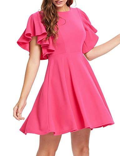 Romwe Women's Stretchy A Line Swing Flared Skater Cocktail Party Dress Rose L